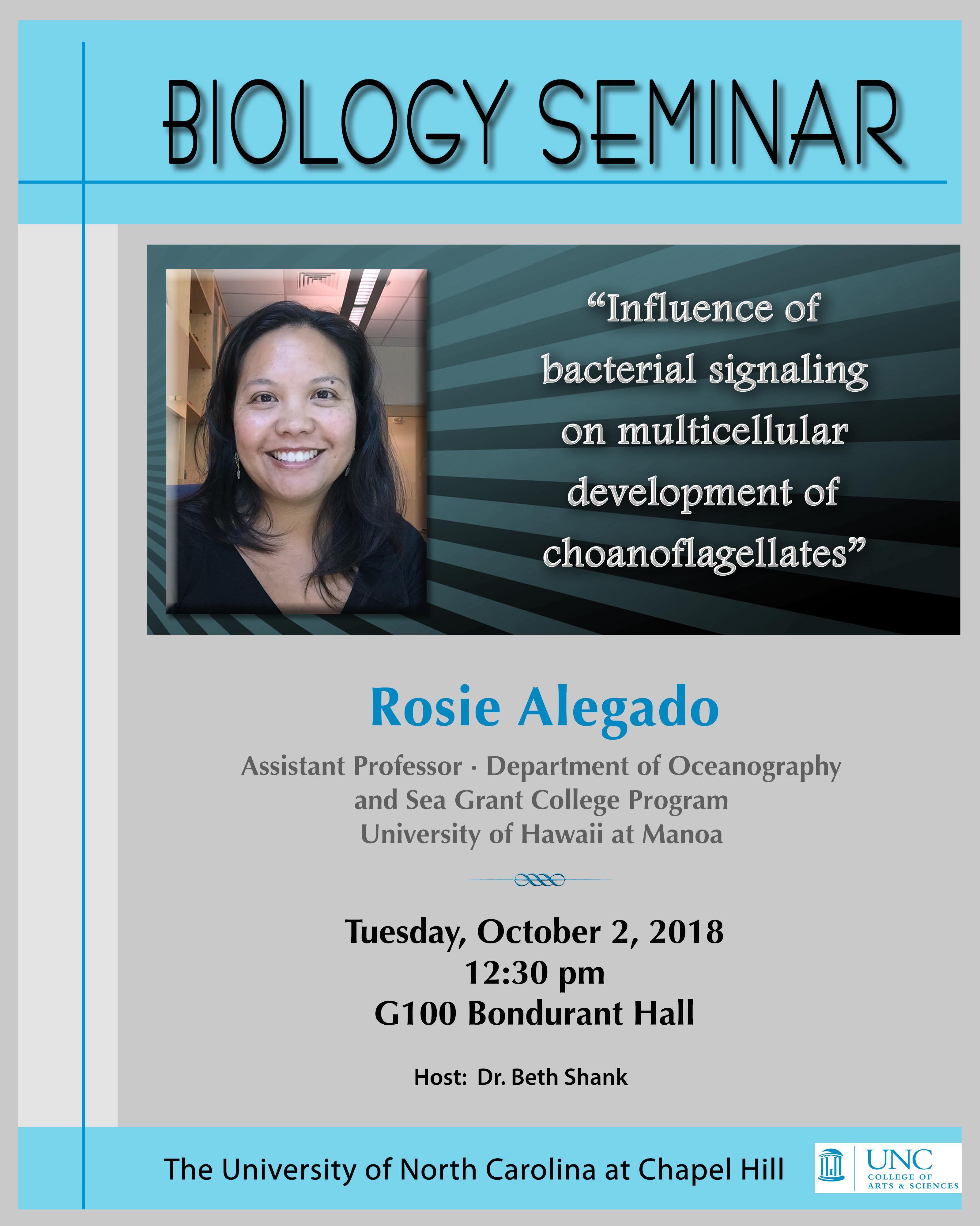 10-02-18_Rosie Alegado seminar - UNC DEPARTMENT OF BIOLOGY